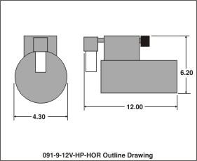 outline drawing 091-9-12v-hp-hor